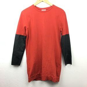 Zara Red & Black Long Sleeve Mini Shirt Dress